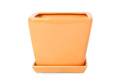 Orange square shape flowerpot Stock Images