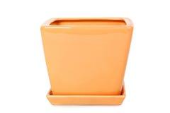 Orange square shape flowerpot stock images