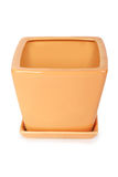 Orange square shape flowerpot Royalty Free Stock Photography