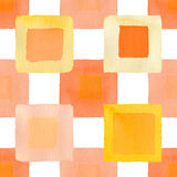 Orange squares full simple seamless watercolor. Set for design. Orange squares simple full seamless watercolor background Stock Images