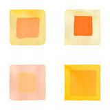 Orange squares simple seamless watercolor. Set for design. Orange squares simple seamless watercolor background Stock Images
