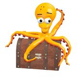 Orange squid on chest Royalty Free Stock Images