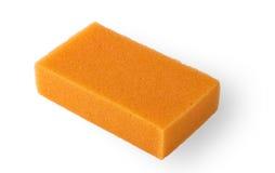 Orange squire bath sponge. Isolated on white Stock Images