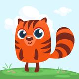 Orange Squirrel Chipmunk Cartoon. Forest Animal Vector Illustration Of Chipmunk Standing On Forest Background. Royalty Free Stock Image