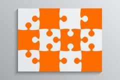 Orange Stück-Puzzlespiel-Fahne Schritt 12 Hintergrund Stockfoto
