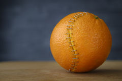 Orange with stainless steel sutures Stock Image
