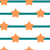 Orange star on blue stripe seamless pattern Royalty Free Stock Image