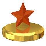 Orange star on gold podium Royalty Free Stock Image