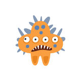 Orange Star Shape Aggressive Malignant Bacteria Monster With Sharp Teeth Cartoon Vector Illustration. Colorful Alien Virus Microorganism Unfriendly Character Stock Image