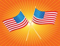 Orange starburst of american flags Royalty Free Stock Photography