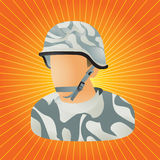 Orange starburst military soldier vector illustration