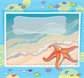 Orange starfish on a sea background. photography w Stock Image
