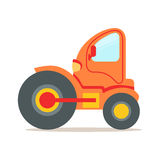 Orange steamroller truck construction machinery colorful cartoon vector Illustration Royalty Free Stock Image