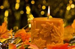 Orange stearinljus, i höstjulinställning Arkivfoto
