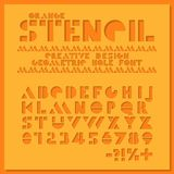 Orange stencil geometric font. Color paper cut typeface alphabet. Hole letters and numbers sans serif. Creative design.  stock illustration