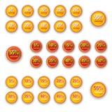 Orange Stern-Rabattkreisaufkleber Stockfoto