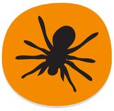 Orange sticker with spider over white. Background. Halloween theme clean design Royalty Free Stock Photos