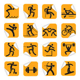 Orange stickers with sport icons. Royalty Free Stock Images