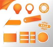 Orange stickers, tags, labels collection Stock Photos