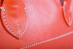 Orange Stitched Leather Stock Photo