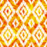 Orange stitched rhombus ornament on watercolor vector seamless pattern Stock Photos