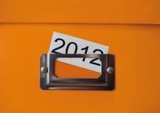 Orange storage box. With the inscription 2012 Royalty Free Stock Photos