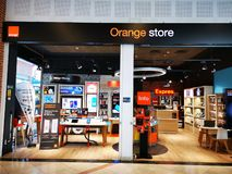 Orange store in mall Afi Palace Cotroceni, Bucharest. Romania. Orange SA is a mobile telecom operator and a subsidiary of France Telecom stock image