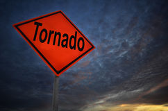 Orange storm road sign of tornado Royalty Free Stock Photo