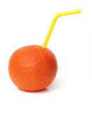 Orange with straw Royalty Free Stock Photo