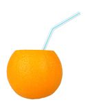 Orange with a straw for cocktails Royalty Free Stock Photography