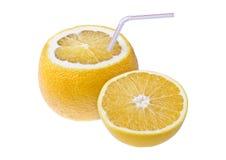 Orange with straw for drinking fresh juice, isolated over white Stock Photo