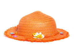 Orange straw Panama hat isolated on white background Royalty Free Stock Photography