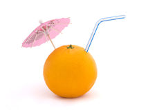 Orange with straw and umbrella over white. Orange with straw and pink umbrella on a white background Royalty Free Stock Image