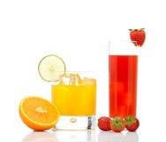 Orange and strawberry juice Stock Photography