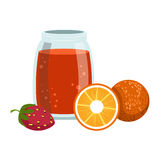 Orange And Strawberry Smoothie, Non-Alcoholic Fresh Cocktail In A Glass And The Ingredients For It Vector Illustration Royalty Free Stock Photo