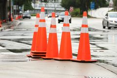 Free Orange Street Cones Stock Image - 118388871