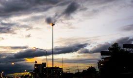 Orange Street light. Against twilight background Stock Photos