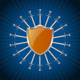 Orange striped shield with ring of swords Royalty Free Stock Photography