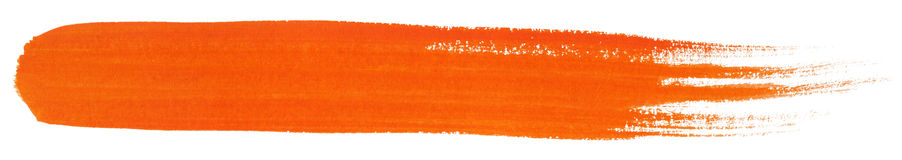 Orange stroke of gouache paint brush Stock Photo