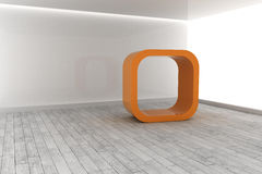 Orange structure in a grey room Stock Photo