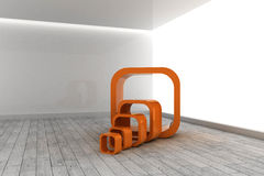 Orange structures in a grey room Royalty Free Stock Photo