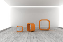 Orange structures in a grey room Stock Images