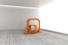 Orange structures in a grey room Royalty Free Stock Photography
