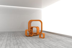 Orange structures in a grey room Royalty Free Stock Photos