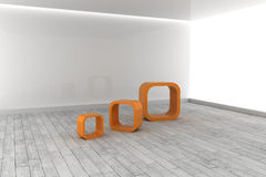 Orange structures in a grey room Stock Photography