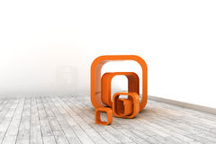 Orange structures in a white room Royalty Free Stock Photography