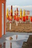 Orange style bathouse in Pesaro, Marche, Italy Royalty Free Stock Photo