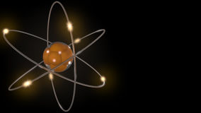 Orange stylized atom and electron orbits. Scientific backdrop with free space for inscriptions. Nuclear, physics, atomic. Orange stylized atom and electron Stock Images