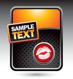 Orange stylized banner lips Stock Photos