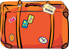 Orange suitcase. Orange Leather suitcase luggage retro Royalty Free Stock Photography